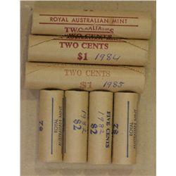 Decimal Mint Rolls 2 Cents 1984 (2), 1985, 5 c 1982 (4)
