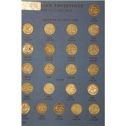 Complete Set of Threepences in Whitman Album