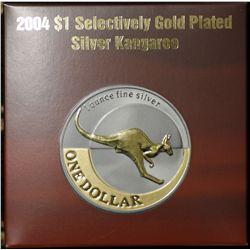 2004 Silver Kangaroo Gold Plated Dollar