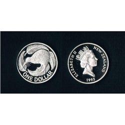 NZ Piedfort Dollar, Plus 1975, 1976 & 1973 Proof Dollars (lot)