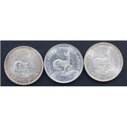South Africa Crowns 1947, 1948 & 1949