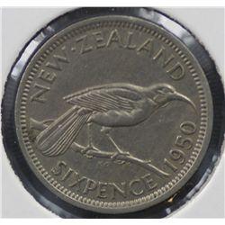 New Zealand Sixpence 1950 Extremely Fine
