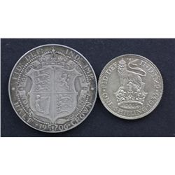 GB 1936 Shilling Choice Unc 1906 Half Crown Very Fine