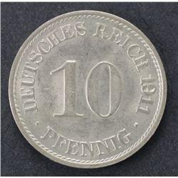 30 German 1911A 10 Pfennig Uncirculated