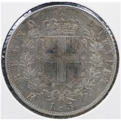 Italy 5 Lire 1876, gVF with Mint Lustre