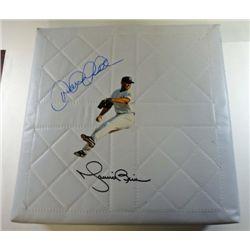 New York Yankees Derek Jeter and Mariano Rivera signed base.