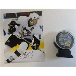 2 items - Sidney Crosby Autographed 8x10 and Florida Panthers Signed Hockey Puck