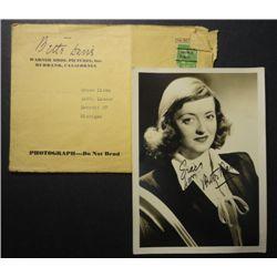 Original 1930's Betty Davis Autograph on 5x7 Fan Portrait