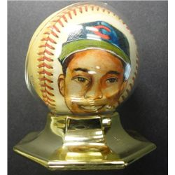 Bob Feller Autographed Baseball with Painted Portrait on Ball