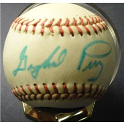 Gaylord Perry Autographed Baseball with Hand Painted Portrait on ball