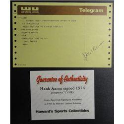 HANK AARON Signed 1974 Telegram, Congratulations on 715