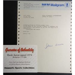 HANK AARON autographed Mailgram from 1974 , Congrats on Hitting Number 715