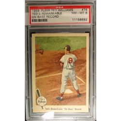 1959 FLEER TED WILLIAMS.  ON BASE RECORD.  PSA 8