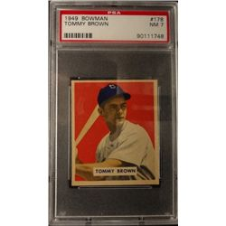 1949 BOWMAN #178  TOMMY BROWN  PSA  NM7  ROOKIE