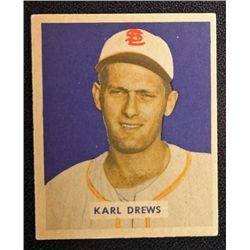1949 BOWMAN #188  KARL DREWS  EX-MT+  ROOKIE