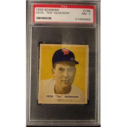 1949 BOWMAN #199  CECIL (TEX) HUGHSON  PSA  NM7  ROOKIE