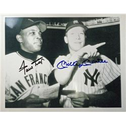 Willie Mays and Mickey Mantle dual signed 8x10 photograph.  HSM-564-P