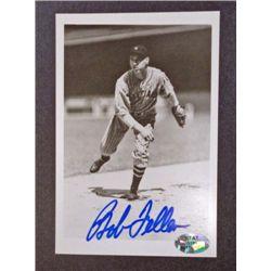 Bob Feller Vintage Black and White Signed 3 1/2 x 5 Photo Autographed,  w/COA.
