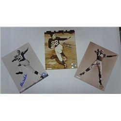 3 - CLASSIC NFL Autographed 8 x 10 photo's.
