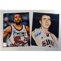 2 NBA 8 x 10 color Autographed photos.  Damon Stoudemire & Bob Pettit.