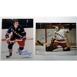 2 - NHL Autographed 8x10 photos.  Eddie Giacomin & Bernie Parent.