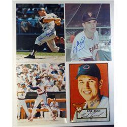 4 Baseball AUTOGRAPHED 8x10 photos. H Killebrew, G Perry, D White, B Rush.