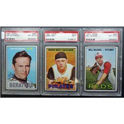 3 - 1967 TOPPS BASEBALL PSA  #353 NM - MT8, #379 NM 7, #387 NM - MT 8
