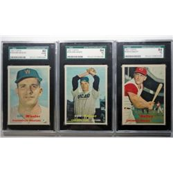 3 - 1957 TOPPS BASEBALL #128 SGC 84 NM7, #134 SGC 84 NM7, #126 SGC 80 EX/NM6.