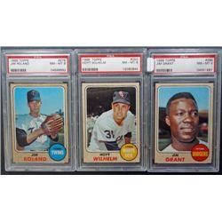 3 - 1968 TOPPS BASEBALL PSA  NM - MT 8   #276, #350, #398