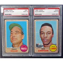 2 - 1968 TOPPS BASEBALL PSA  MINT 9  #459, #461