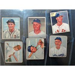 6 - 1950 Bowman Baseball Cards - All Different  3 - VGEX, 1 - VG & 2 - Good.
