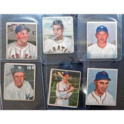 6 - 1950 Bowman Baseball Cards  1-EX,  2-VGEX,  3-Good