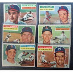 6 - 1956 Topps Baseball Cards.  Nice EX Lot - (1 VG)