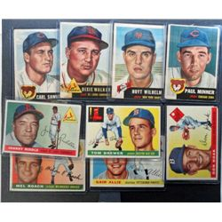 1953 & 55 Topps Baseball Card Lot (9 cards)