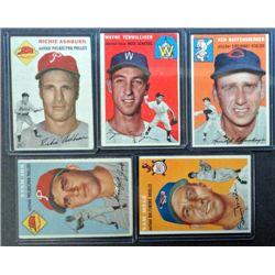 5 - 1954 Topps Baseball Card Lot - with Richie Ashburn.