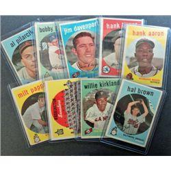 9 - 1959 Topps Baseball Card Lot - with Hank Aaron.