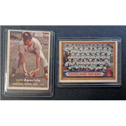 2 - 1957 Topps Baseball Cards, Aparicio & Indians T/C