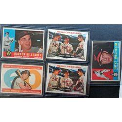5 - 1960 Topps Baseball Cards, Killebrew, Mathews, All EM - EX+