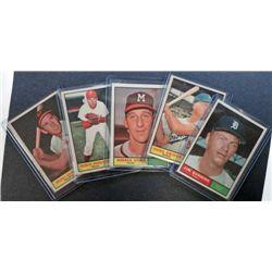 5 - 1961 Topps Baseball Big Star Card Lot.  All EM-EX