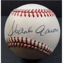 Hank Aaron Autographed Baseball.