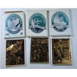 3 - 23K Gold Bleachers Card, Ford, Griffey Jr & Jeter.