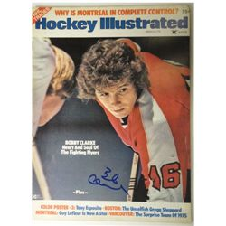 Bobby Clarke Autographed Hockey Illustrated.  March / 75.