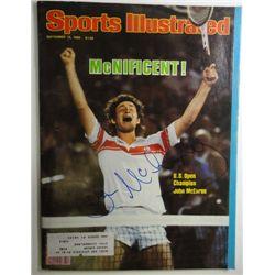 John McEnroe Autographed Sports Illustrated.  September 15, 1980.