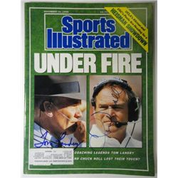 Tom Landry and Chuck Noll Autographed Sports Illustrated.  November 14, 1988.