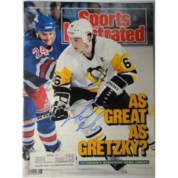 Mario Lemieux Autographed Sports Illustrated.  February 6, 1989.