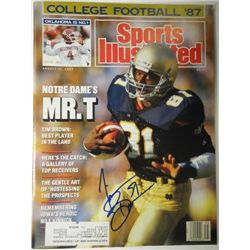 Tim Brown Autographed Sports Illustrated.  August 31, 1987.