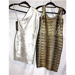 Lot [2] DRESSES:  [1] Musani one shoulder metallic silver dress, size 6 and [1] VM Collection gold a