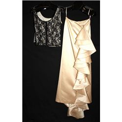 Lot [2] PIECES:  [1] Louise wool camisole, lace, size 8 and [1] Tan flowing gown