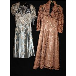 Lot [2] DRESSES:  [1] Rose Taft lace dress, size 10 and [1] YSA Makino nude and mocha dress, size 10
