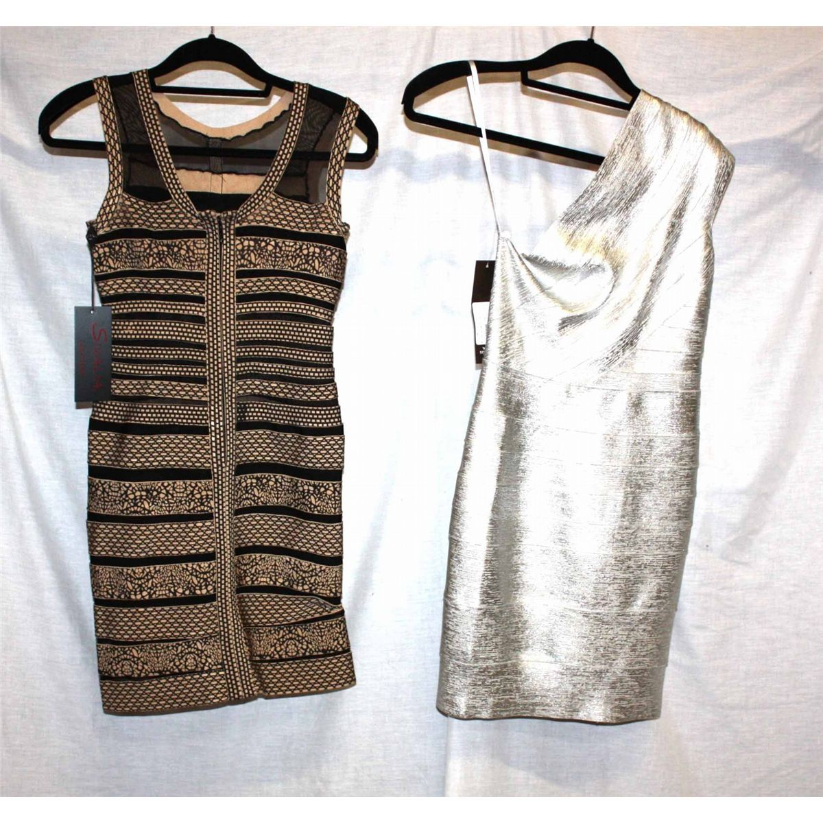 f6ea8d9588b Lot [2] DRESSES: [1] Musani Gold one shoulder metallic silver dress ...